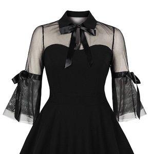 Sourpuss Black Mesh Mini Keyhole Cocktail Dress